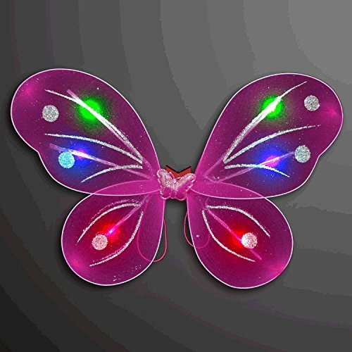 blinkee Light Up Fuchsia Fairy Butterfly Wings LED Halloween Costume for Trick or Treating and Night Time Safely ...