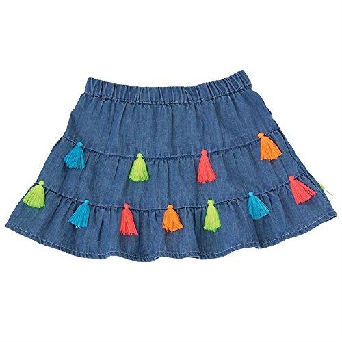(Mud Pie Baby Girls Chambray Tassel Tiered Skirt, Blue, MD/ 2T-3T)