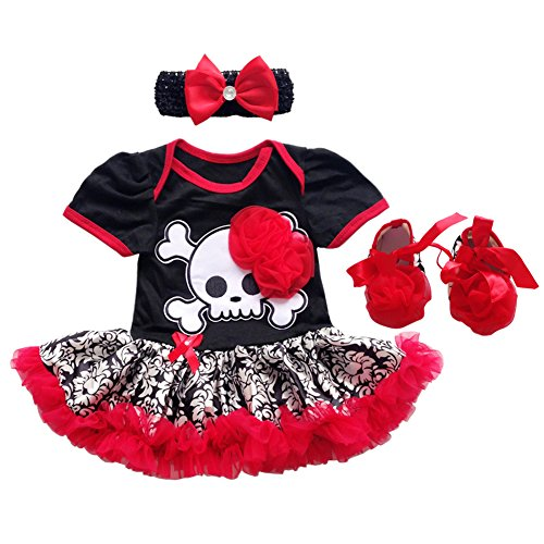 (Newborn Baby Girls My 1st Halloween Tutu Outfit Pirate Skull Bodysuit Romper Dress with Ruffle Tulle Skirt + Bow Headband + Crib Shoes First Birthday Clothes Party Costume 3Pcs Set Red 3-6M)