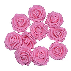 YONGSNOW PE Foam Rose Head 20pcs 10cm DIY Real Touch 3D Artificial Foam Rose Without Stem for Wedding Party Home Decoration (Pink) 80