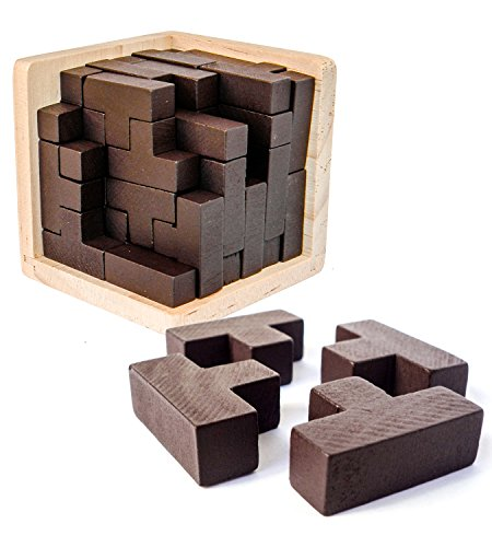 3D Wooden Brain Teaser Puzzle by Sharp Brain Zone. Genius Skills Builder T-Shape Pieces with Tetris Fit. Educational Toy for Kids and Adults. Explore Creativity and Problem Solving. Painted Finish (Box 3d Puzzle)