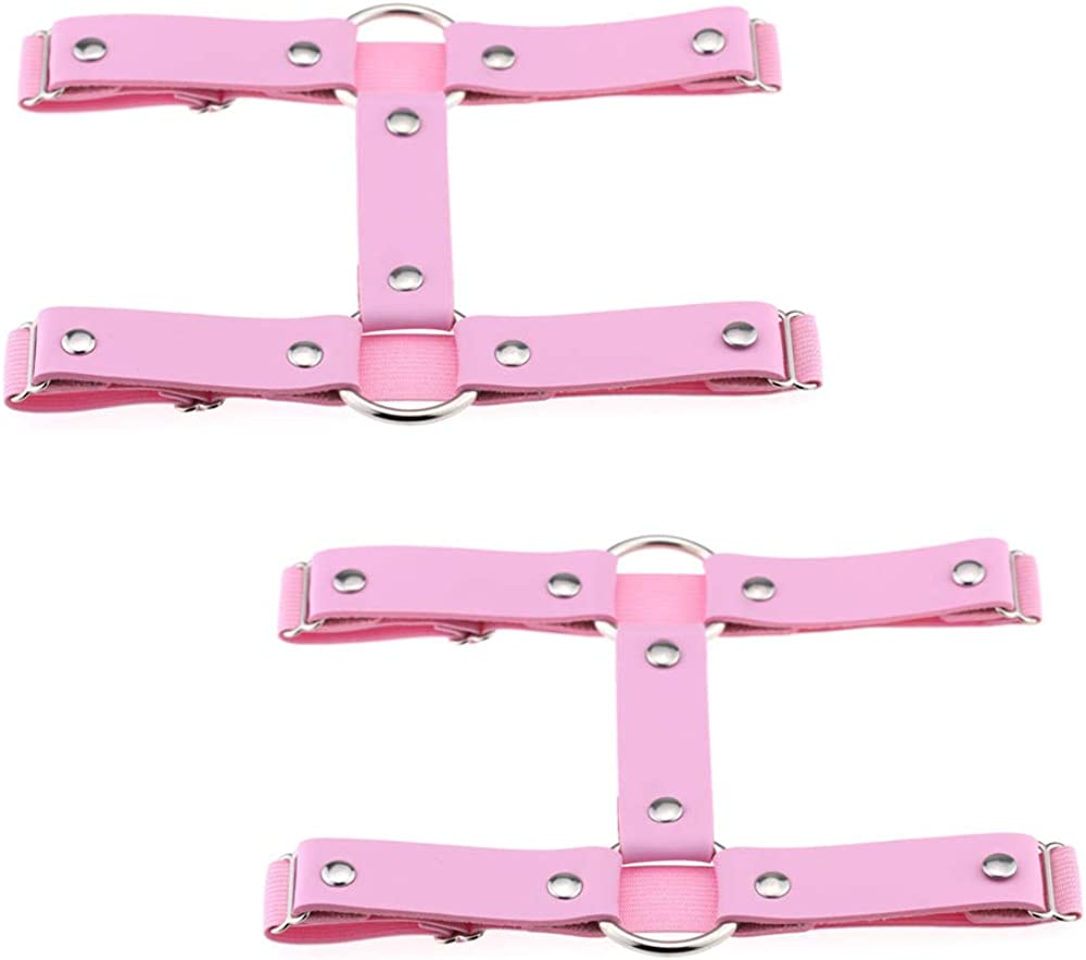 2 Rows Punk Thigh Garter for Women alisikee 2 Pieces Adjustable Elastic Leather Leg Harness Belt