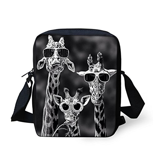HUGS IDEA Giraffe Small Shoulder Messenger Bag Mini Crossbody Tote Hipster Adjustable Strap Cell Phone Pouch Purse Wallet