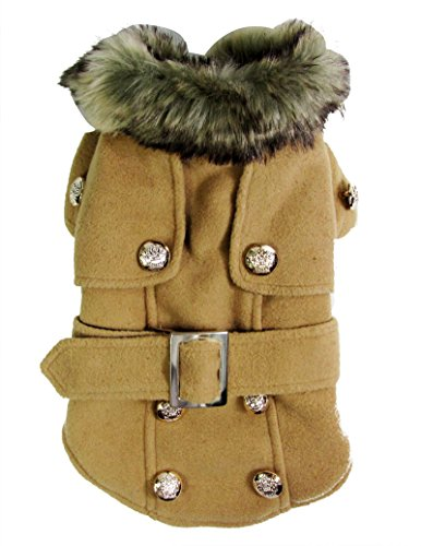 Pet Cat Dog Clothes European Woolen Fur Collar Coat Small Dog Cat Pet Clothes Costume Beige XL by smalllee_lucky_store