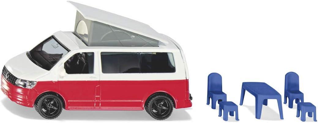 VW T6 California Camping-Bulli Hocker und Hochklappbares Dach Metall//Kunststoff Siku 1922 Rot//Wei/ß St/ühle 1:50