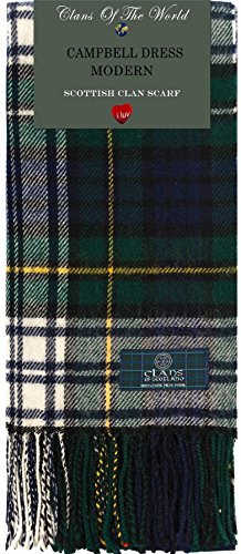- Campbell Dress Modern Tartan Clan Scarf 100% Soft Lambswool