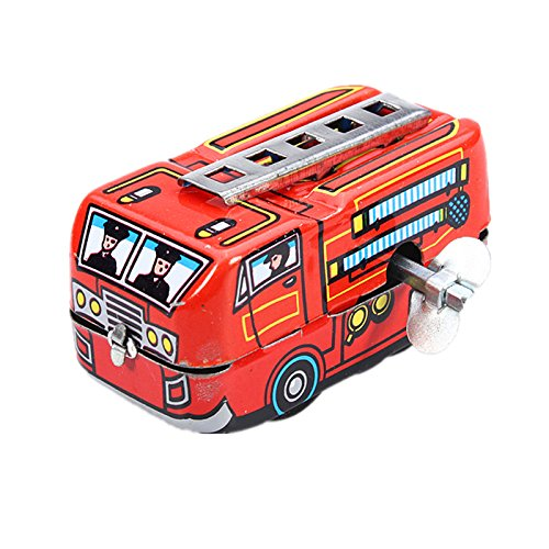 (Vintage Fire Chief Firefighter Car Truck Clockwork Wind Up Tin Toys)