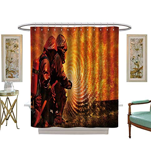 Miki Da Shower Curtains with Shower Hooks Firemen Using Extinguisher and Water from Hose for fire Fighting Satin Fabric Sets Bathroom Size:W54 x L84 inch