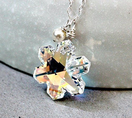 86d52e0251 Image Unavailable. Image not available for. Color: Snowflake necklace, Swarovski  crystal ...