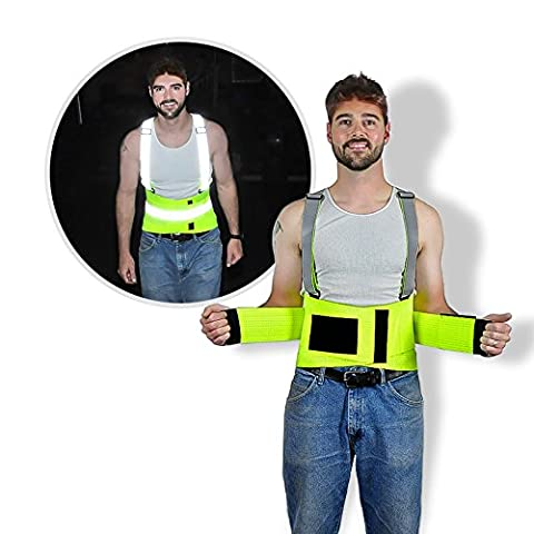 High-Visibility Reflective Lime Green Back Brace Lumbar Support, Adjustable Suspenders, Over Lapping Belt 5X Large - 54