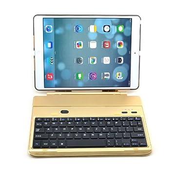 be7701b5f6d261 Kool(TM) Gold Wireless Aluminum Bluetooth 3.0 Keyboard Case Folio 360  Degree Rotating Airbender