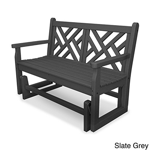 Chippendale Garden Bench - Polywood Chippendale Glider Bench Slate Grey