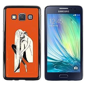 LECELL--Funda protectora / Cubierta / Piel For Samsung Galaxy A3 SM-A300 -- Orange Blonde Woman Painting --