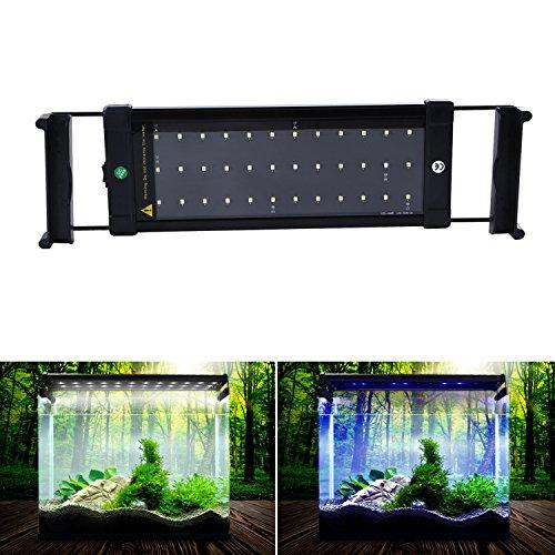NONMON LED Aquarium Lights, Fish Tank Light Hood with Extendable Brackets, White and Blue LEDs 28cm/11inch
