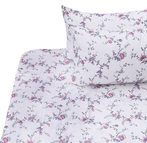 J-pinno Girls Flower Double Layer Muslin Cotton Bed Sheet Set Full, Flat Sheet & Fitted Sheet & Pillowcase Natural Hypoallergenic Bedding Set (1, Full)