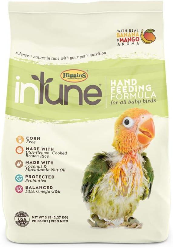 Higgins Intune Natural Hand Feeding Baby Bird Food, 5 lb
