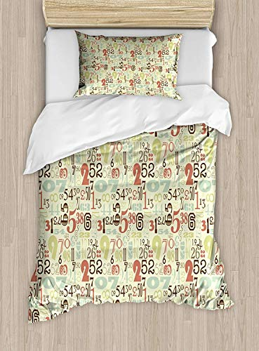Numbers Duvet Cover Set Twin Size Vintage Numerical Pattern Antique Writing Styles Education Math Design Typographic,2 Piece Bedding Set With With 1 Pillowcase For Kids Bedding,Multicolor