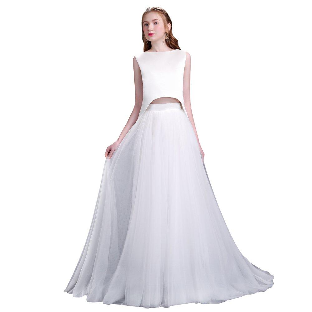 duolala レディース 袖なし ウエディングドレス ロング 花嫁 フォーマル ドレス ツーピース B077MK364M XL|ホワイト ホワイト XL