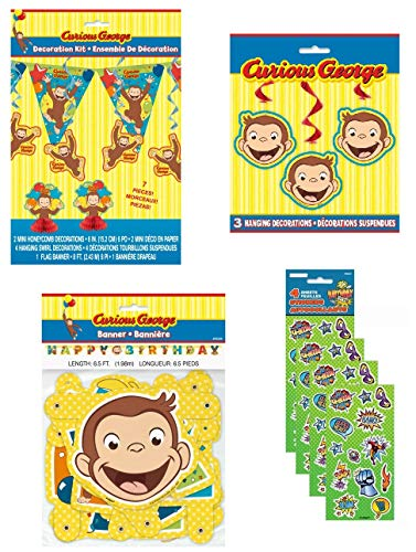 Bigsavings Curious George Birthday Party Supply Decoration Bundle Includes Banner, Mini Centerpieces, Hanging Swirls, 8 Feet Flag Pennant Banner -