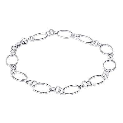 76affc25c9f4 MATERIA Damen Collier Kette 925 Silber oval - Lange Halskette Silberkette  19mm breit rhodiniert 50cm in