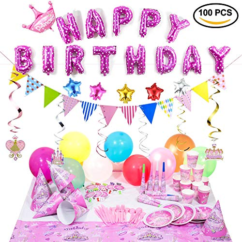 Birthday Party Supplies and Party Decorations All-in-One Pack with Pink Foil Balloons and Hanging Swirl Decorations by Party Accessories of Princess girl suit(1 balloon pump)(Over 100 PC)