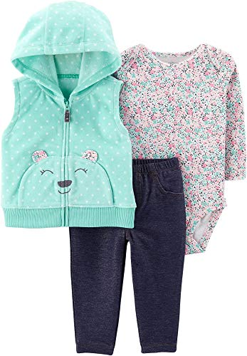 Carter's Baby Girls' Vest Sets (3 Months, Floral/Denim)