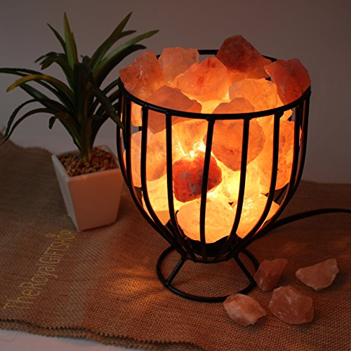 Clearance Sale: Genuine Glowing Himalayan Salt Lamp - Wrought Iron Basket with UL- approved Dimmer Cord and 15-Watt Light Bulb by The Royal Gift Shop