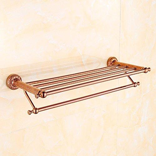 KHSKX Engraved copper rose gold Golden towel racks Towel rack bathroom shelf bathroom hardware accessoriesB 50%OFF