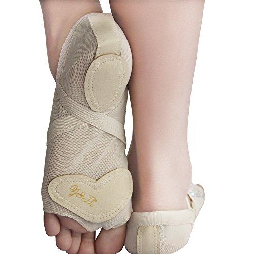 Yaling International Trading Limited ISYITLTY Frauen Ballett Bauchtanz lyrische halbe Sohle Pfoten Pad Fuß Thong Dance Paw Schuhe 8 Styles Fbeige Strass