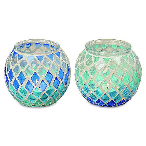 Whole House Worlds The Shades of Blue Candle Holder Globes for Tealights and Votives, Set of 2, Translucent Glass, 4 Inches in Diameter, 3 Inches Tall, By WHW