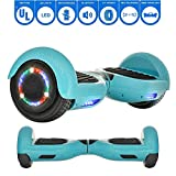 """NHT Hoverboard 6.5"""" Smart Self Balancing Electric Scooter Bluetooth Hover Board Flashing Lights UL2272 Certified (Carbon Fiber Blue)"""