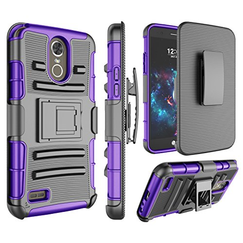 LG Stylo 3 Case, LG Stylo 3 Plus Holsters Clips, Jeylly [Belt Clip] Full Body Rugged Shockproof Heavy Duty Kickstand Carrying Armor Combo Cases Cover for LG Stylo 3/LG Stylus 3 LS777 - Purple