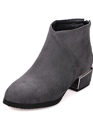 XZZ/ Damen-Stiefel-Kleid / Lässig-Kunstleder-Blockabsatz-Modische Stiefel-Schwarz / Rot / Grau gray-us8 / eu39 / uk6 / cn39
