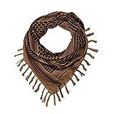 Shemagh Head Neck Scarf Tactical Military Arab Keffiyeh Desert Scarf Wrap 100% Cotton (Khaki)