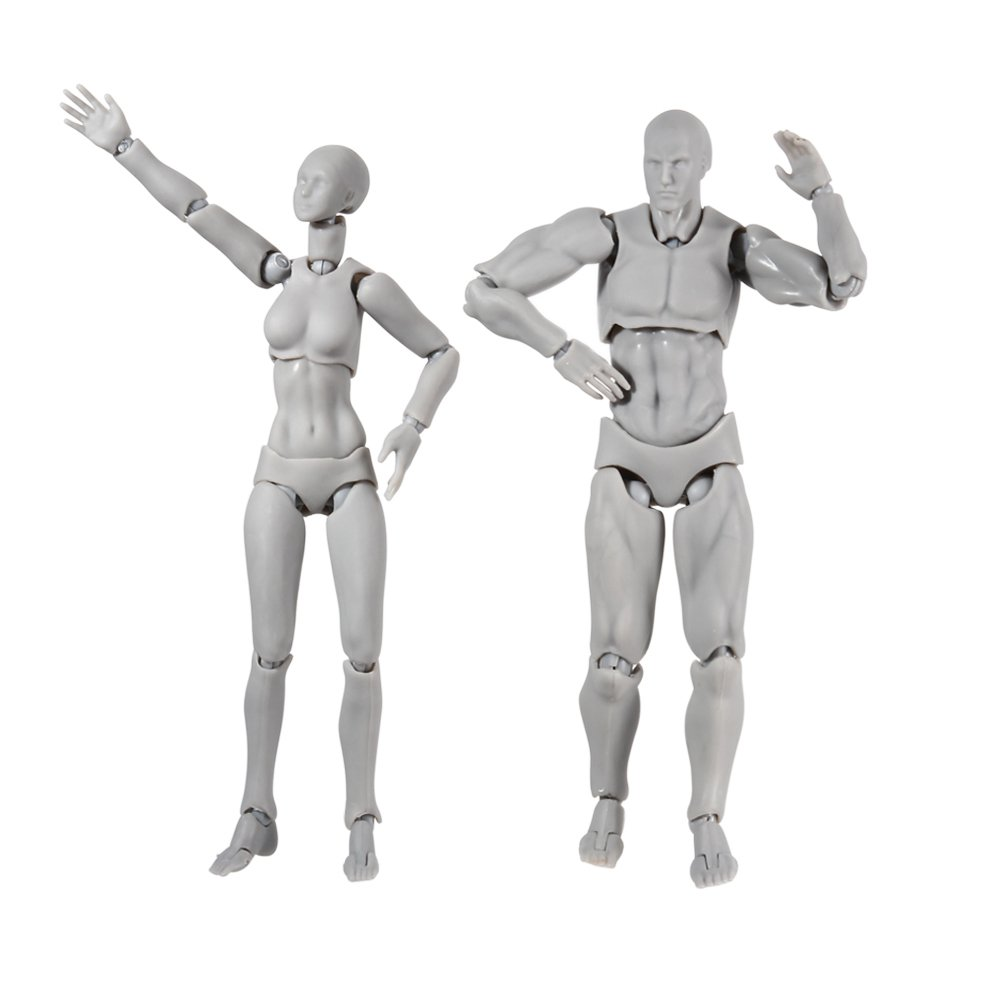 A pair of action figure model starall human mannequin man woman action figure set with accessories kit perfect for drawing sketching painting