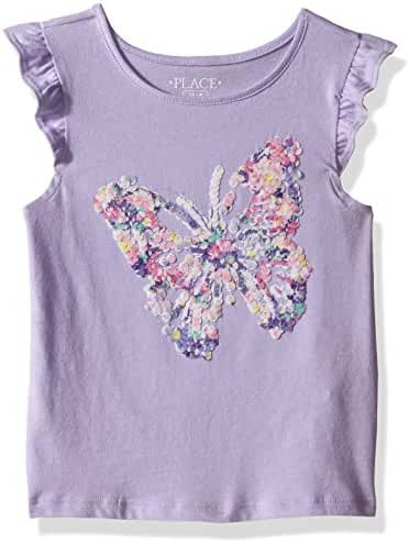 The Children's Place Girls' Flutter Sleeve Graphic Top