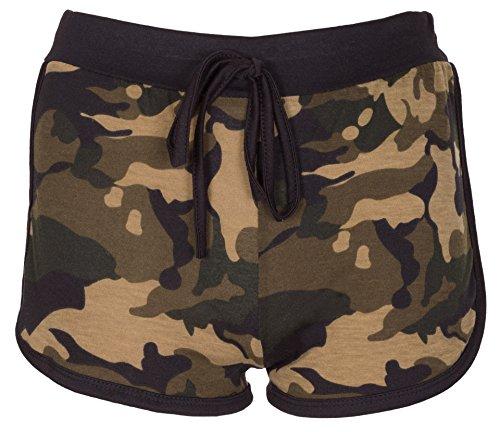 Noroze Girls Kids Camo Brklyn Rose Print Hot Pants Shorts (9-10 Years, Camo Khaki) ()