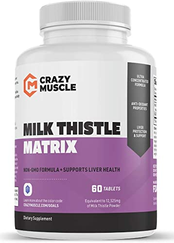 Milk Thistle Capsules – 12,525 mg Strength 70x Concentrated Extract – 80 Silymarin – Best Liver Support – Proven Liver Rescue, Cleanse Regenerator Detoxifier – 60 Veggie Tablets