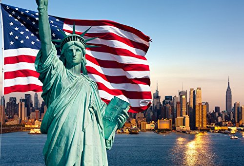 Statue Day (OFILA the Statue of Liberty Sculpture Backdrop 7x5ft American Flag US Symbol 4th of July Independence Day of the USA River Tall Buildings Travel Photos Freedom Uniform Patriotic Days Video Props)