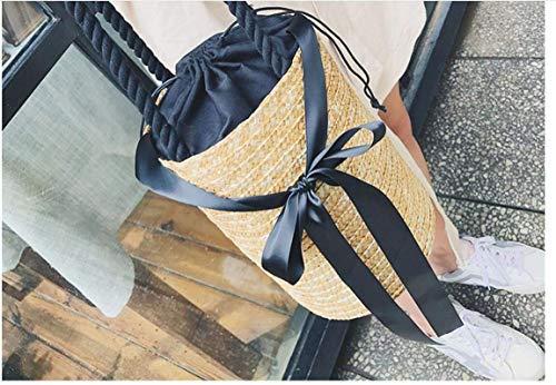 Tie Bolso color Tamaño Beach Eeayyygch Bag Straw Bag Bucket Hombro Woven Bow Solo Del 5AwqU87