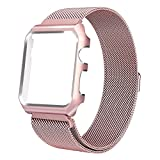 HUASIRU Apple Watch Band 42mm, Stainless Steel Milanese Loop Replacement Band with Metal Case Cover for Apple Watch Series 3, Series 2, Series 1 (Rose Gold)