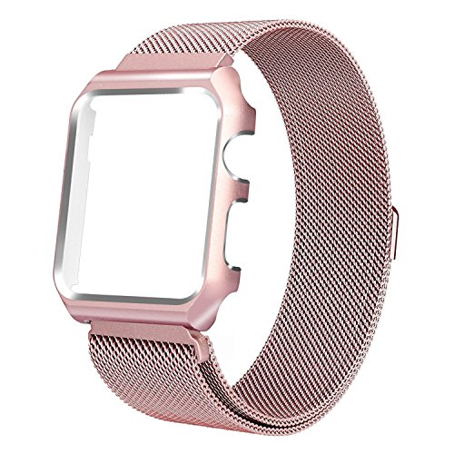 Yellow Gold Stock - HUASIRU Apple Watch Band 38mm, Stainless Steel Milanese Loop Replacement Band with Metal Case Cover for Apple Watch Series 3, Series 2, Series 1 (Rose Gold)