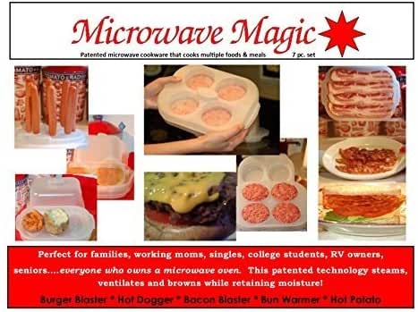 MICROWAVE MAGIC, THE BURGER BLASTER & MICROWAVE ACCESSORIES