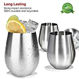 : Modern Innovations Stainless Steel Stemless Wine Glasses, Set of 4, 18 Oz Elegant Wine Glasses Made of Dishwasher Safe Unbreakable BPA Free Shatterproof SS Great for Daily, Formal & Outdoor Use