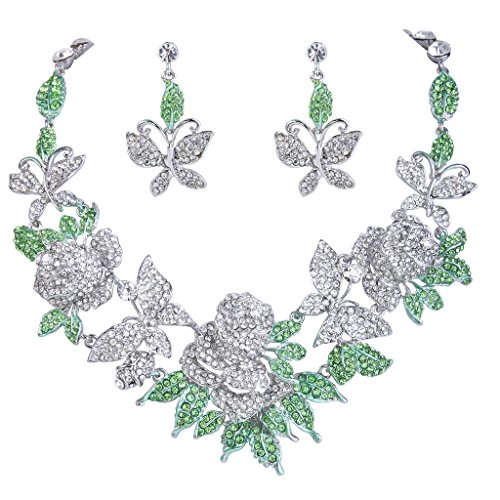 Austrian Crystal Butterfly Flower - EVER FAITH Austrian Crystal Butterfly Rose Flower Leaf Necklace Earrings Set Clear w/Green Silver-Tone