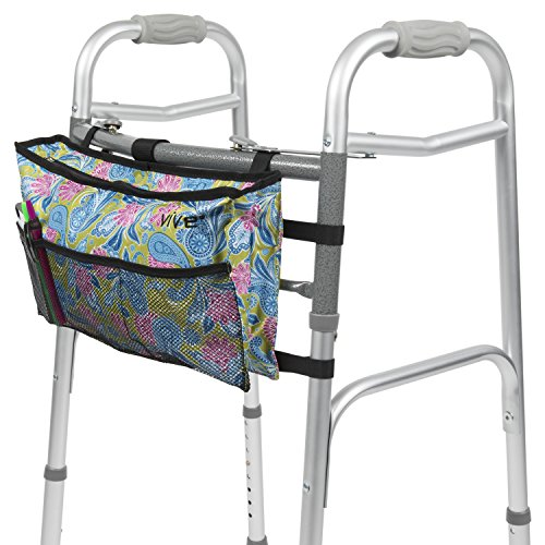 - Vive Walker Bag - Water Resistant Accessory Basket Provides Hands Free Storage for Folding Walkers - Attachment Fits Wide and Narrow Styles - Tote Caddy Pouch for Elderly, Seniors, Handicap, Disabled