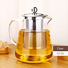 Awon GYBL012 Premium Borosilicate Glass Teapot Kettle - Tea Pot and Tea Strainer Set with Stainless Steel Infuser & Lid (32 oz)