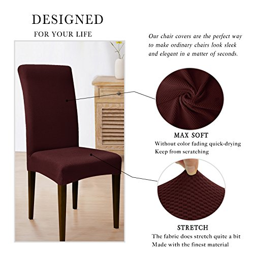 subrtex knit spandex fabric dining room chair slipcovers 4 wine knit furniture chairs kitchen. Black Bedroom Furniture Sets. Home Design Ideas
