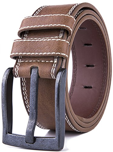 Leather Belt for Men with Metal Buckle (Brown, 40/42) (Quality Brown Leather)