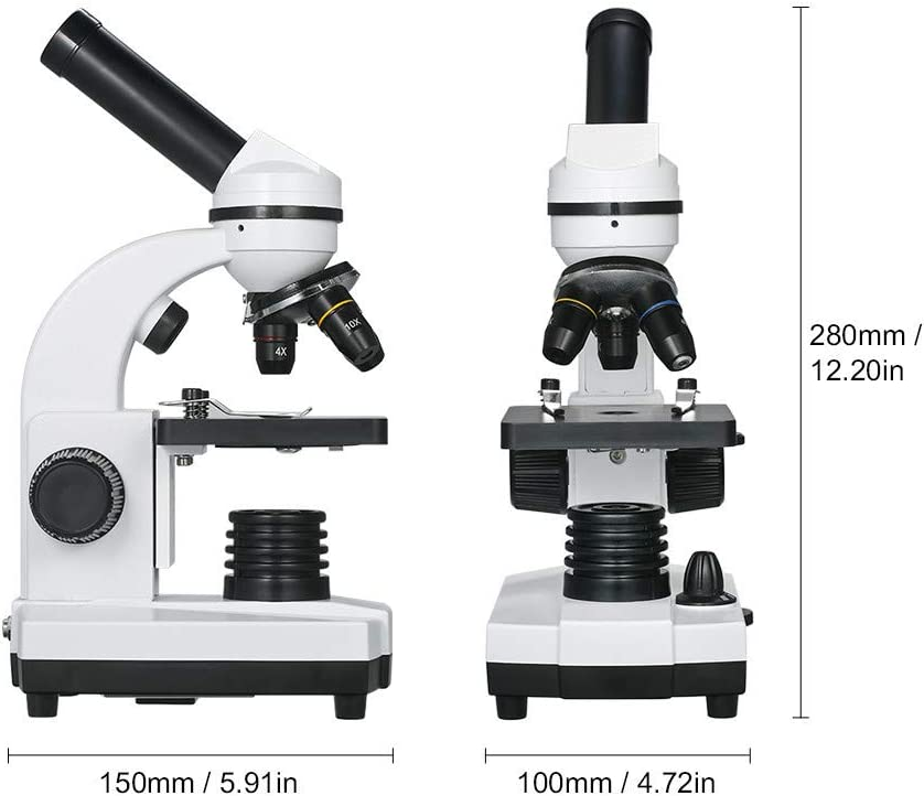 All Metal Framwork JIASHU Microscope Optical Glass Lenses LED Student Biological Compound Microscope with 16x Eyepiece Smartphone Adapter